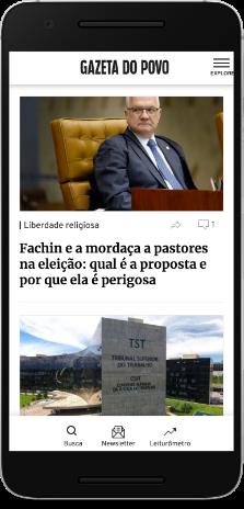 Imagem de um smartphone com o conteúdo do site da Gazeta do Povo
